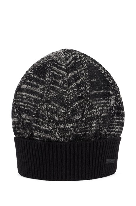 Knitted beanie hat with mouliné argyle pattern, Black