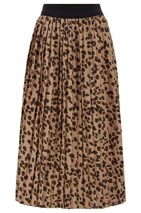 Leopard print A-line skirt with plissé pleats, Patterned