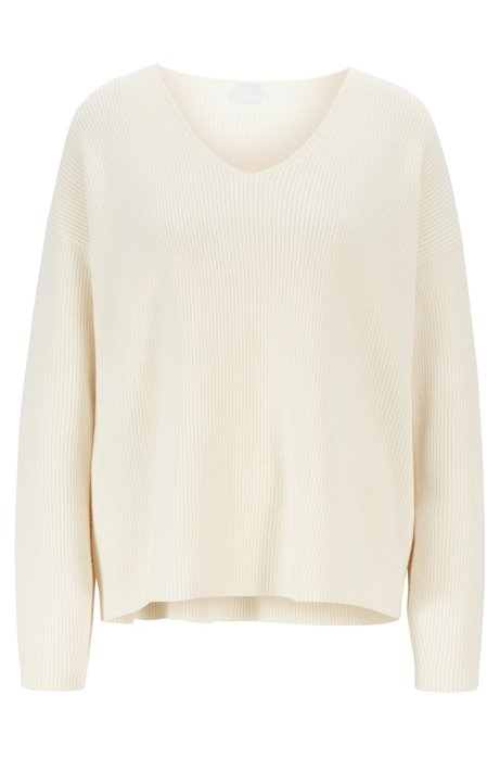 V-neck ribbed-knit sweater in virgin wool and cotton, Natural