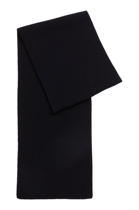 Virgin-wool scarf with knitted structure, Dark Blue