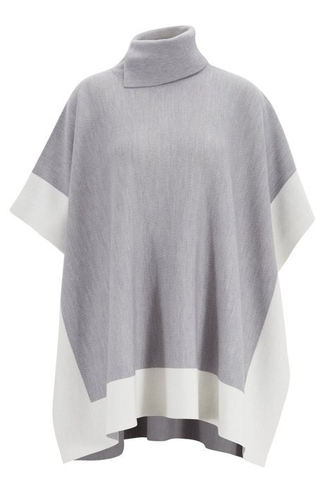 Colour-block poncho in virgin wool, Grey