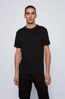 Cotton-jersey crew-neck T-shirt with raw-cut collar, Black
