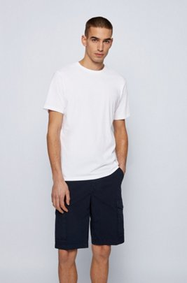 Cotton-jersey crew-neck T-shirt with raw-cut collar, White