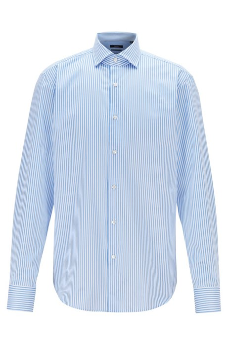 Striped regular-fit shirt in cotton twill, Light Blue