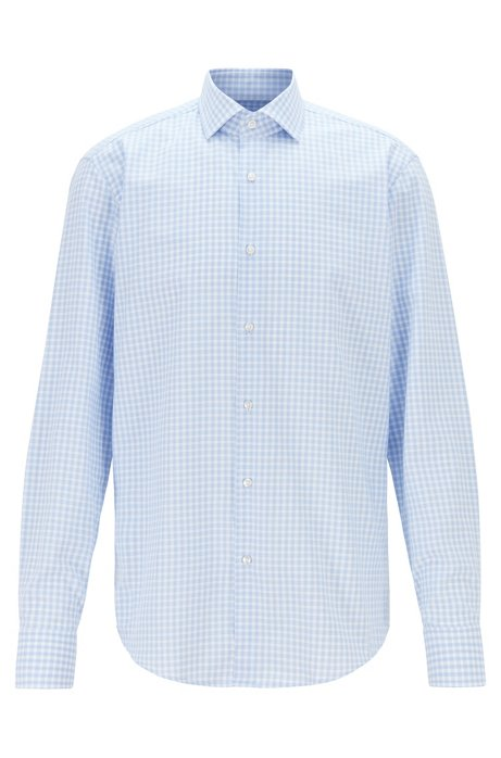 Regular-fit cotton-twill shirt with Vichy check, Light Blue