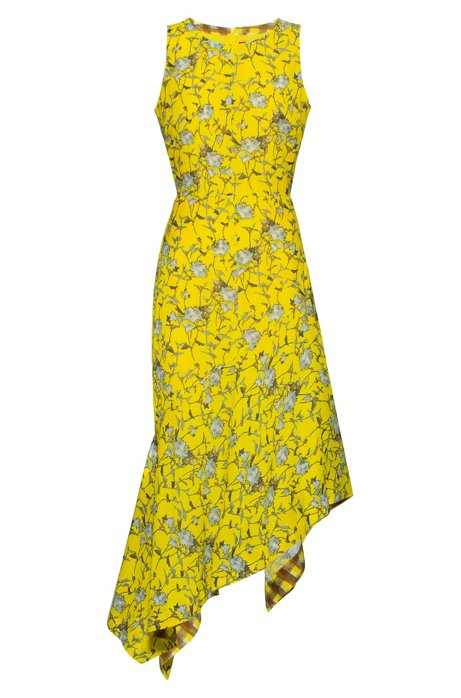 Floral-print sleeveless dress with asymmetric volant hemline, Patterned