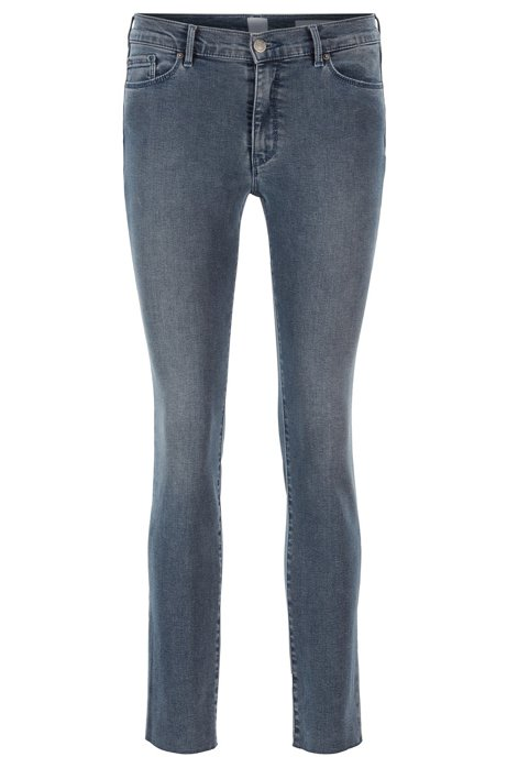 Skinny-fit cropped denim jeans with open hems, Dark Blue