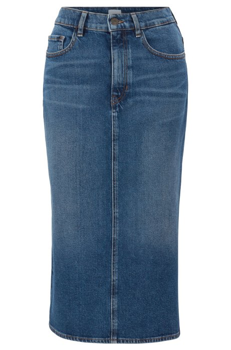 Stretch-denim midi skirt in mid blue with side split, Dark Blue