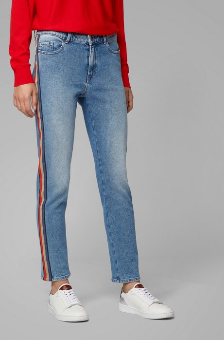 Regular-fit jeans in comfort-stretch mid-blue denim, Blue