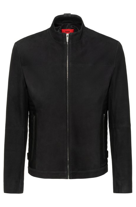 Extra-slim-fit biker jacket in velour-touch leather, Black