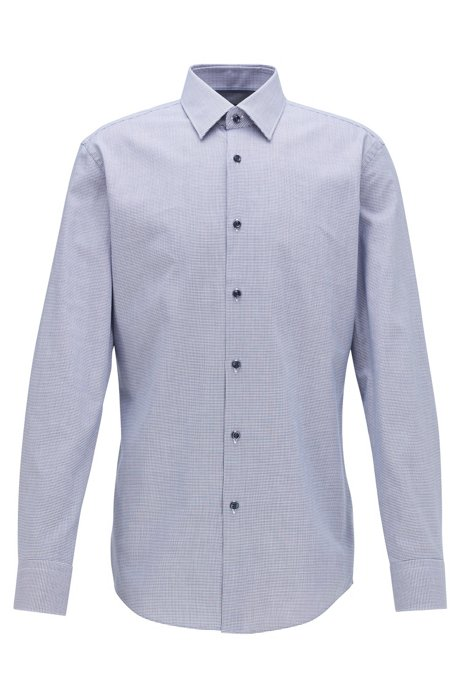 Slim-fit shirt in micro-patterned cotton twill, Blue