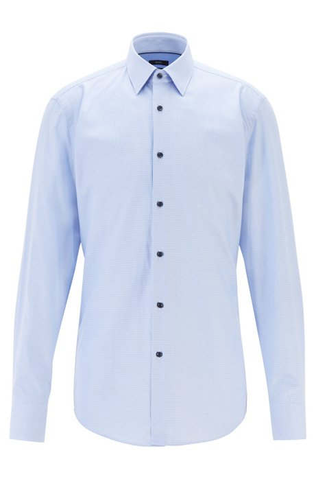 Slim-fit shirt in micro-patterned cotton twill, Light Blue