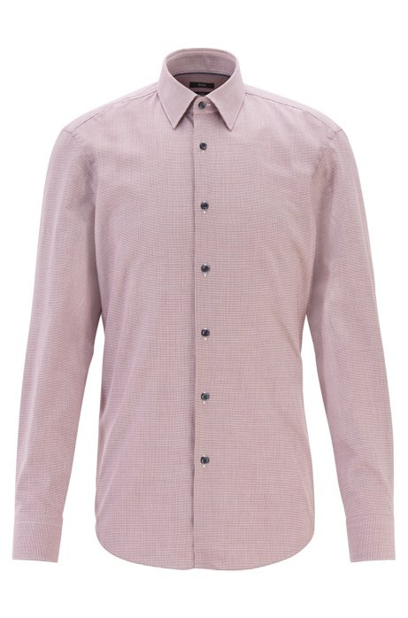 Slim-fit shirt in micro-patterned cotton twill, Dark Red