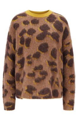 Pull Relaxed Fit en maille jacquard à motif léopard, Fantaisie