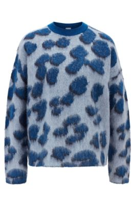 Relaxed-fit sweater in leopard jacquard knit, Patterned