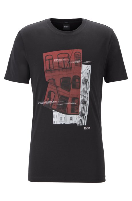 Slim-fit T-shirt in Pima cotton with photographic print, Black