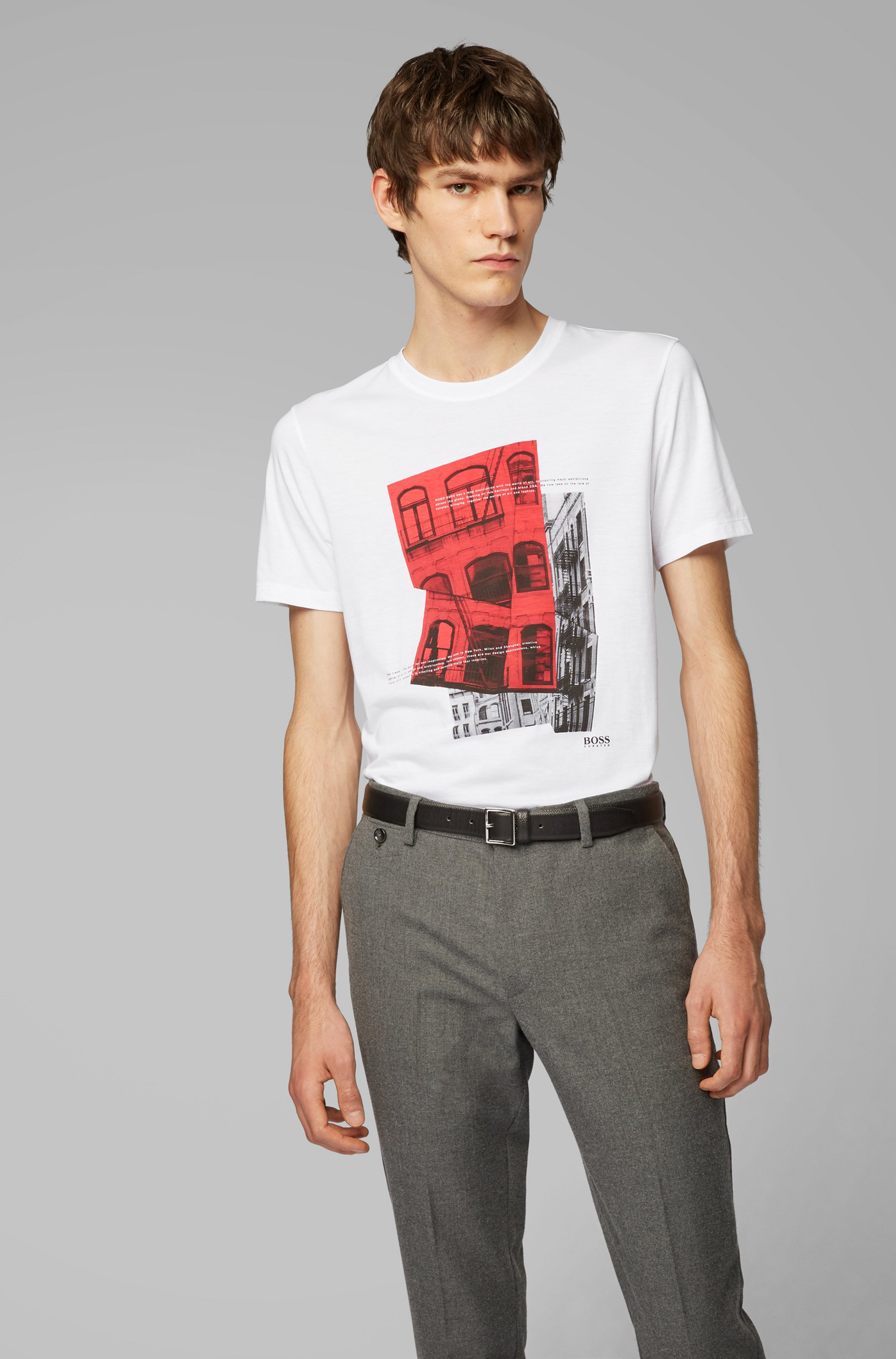 Slim-fit T-shirt in Pima cotton with photographic print