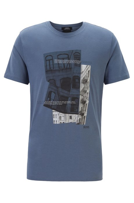 Slim-fit T-shirt in Pima cotton with photographic print, Open Blue
