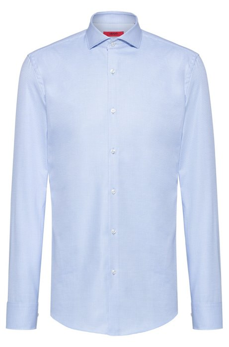 Slim-fit shirt in cotton with contrasting micro structure, Patterned