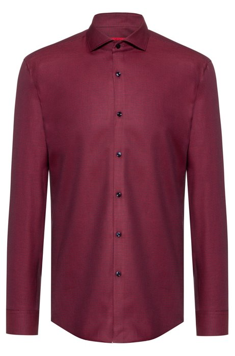Slim-fit shirt in cotton with contrasting micro structure, Dark Red