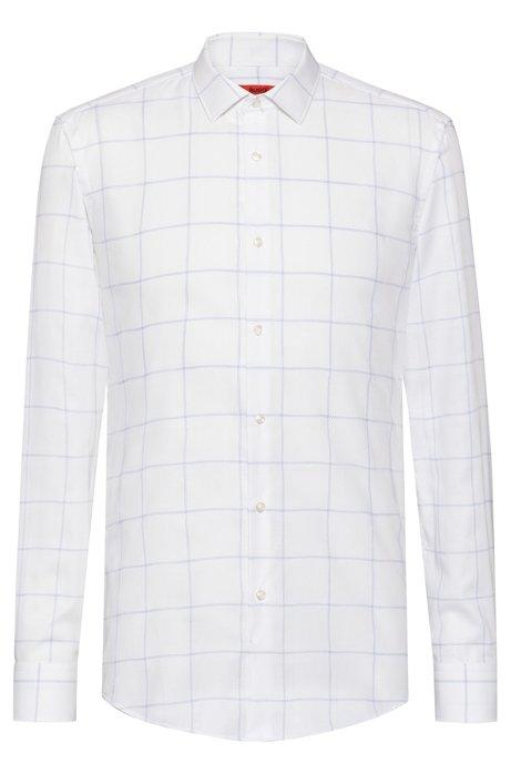 Chemise Slim Fit en coton avec grand motif à carreaux, Blanc