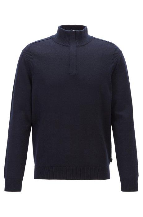 Regular-fit sweater in virgin wool and cotton, Dark Blue