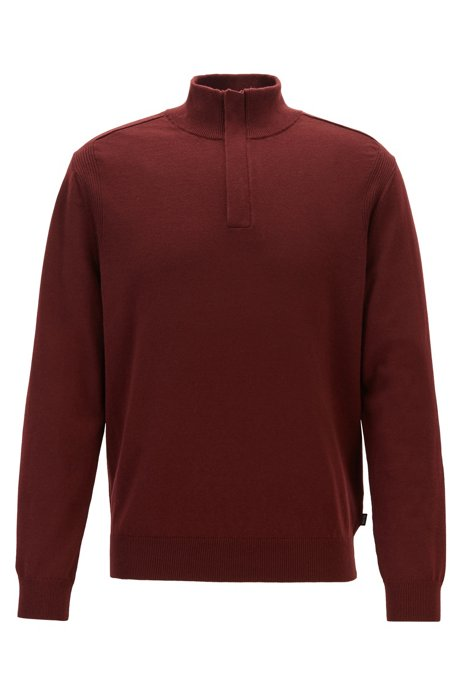 Regular-fit sweater in virgin wool and cotton, Dark Red