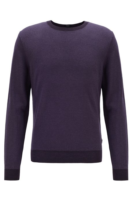 Regular-fit melange sweater in virgin wool and silk, Dark Purple