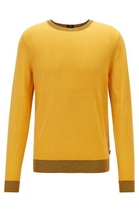 Regular-fit melange sweater in virgin wool and silk, Yellow