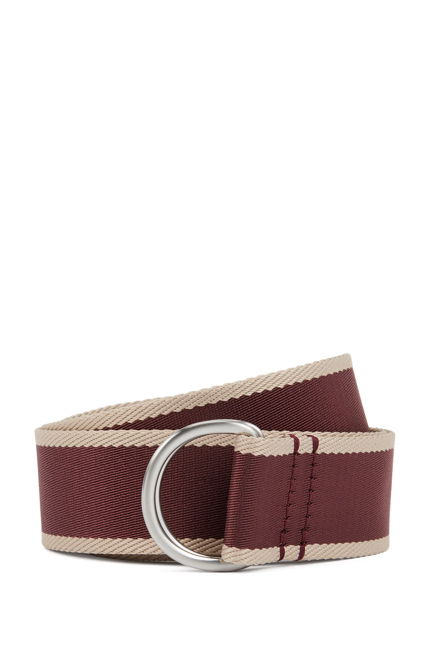 Two-tone webbing belt with D-ring buckle, Rouge sombre