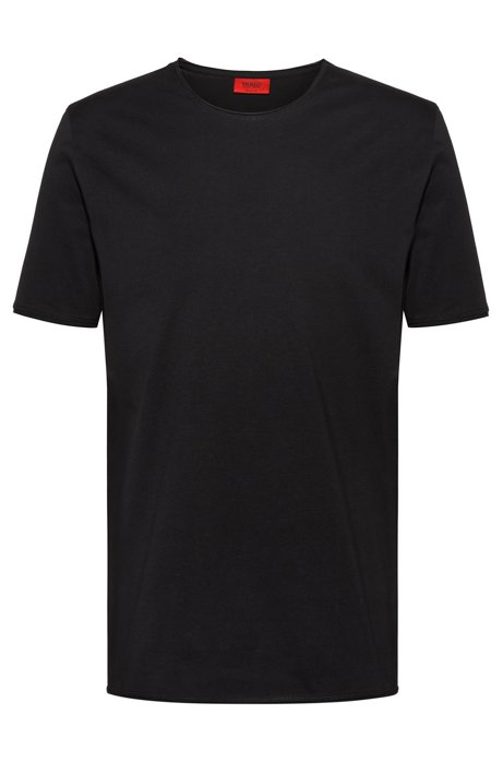 Regular-fit T-shirt with extra-long length, Black