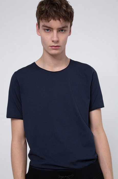 Regular-fit T-shirt with extra-long length, Dark Blue