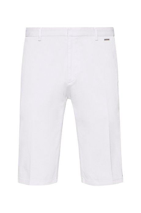 Slim-leg shorts in overdyed stretch cotton, White