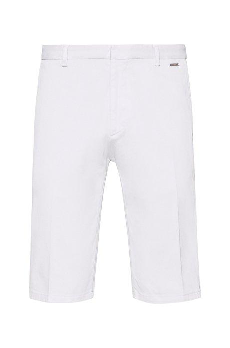 Short à jambes slim en coton stretch surteint, Blanc