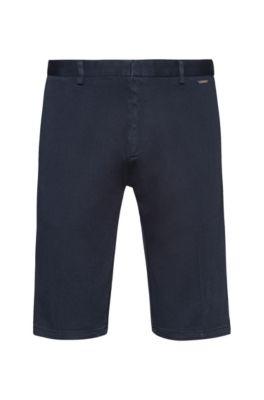 Short met smalle pijpen, van overdyed stretchkatoen, Donkerblauw