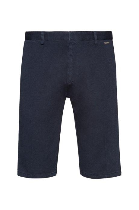 Short à jambes slim en coton stretch surteint, Bleu foncé