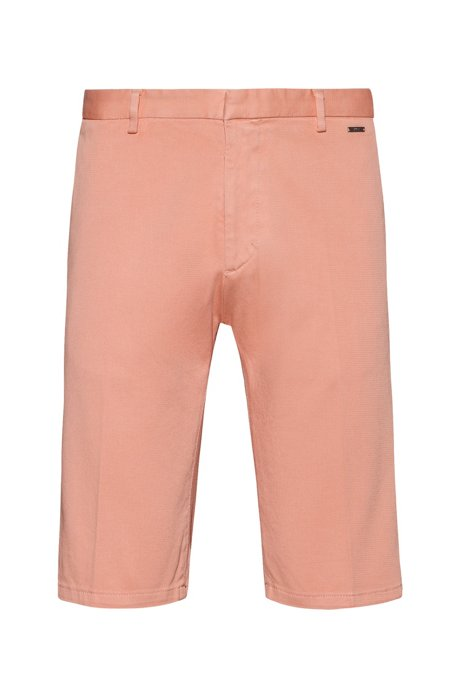 Short à jambes slim en coton stretch surteint, Orange clair