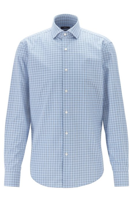 Regular-fit shirt with three-coloured Vichy check, Dark Blue
