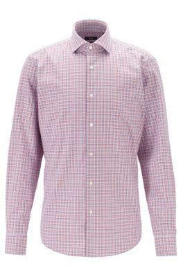 Regular-Fit Hemd aus Baumwolle mit dreifarbigem Vichy-Karo, Rot