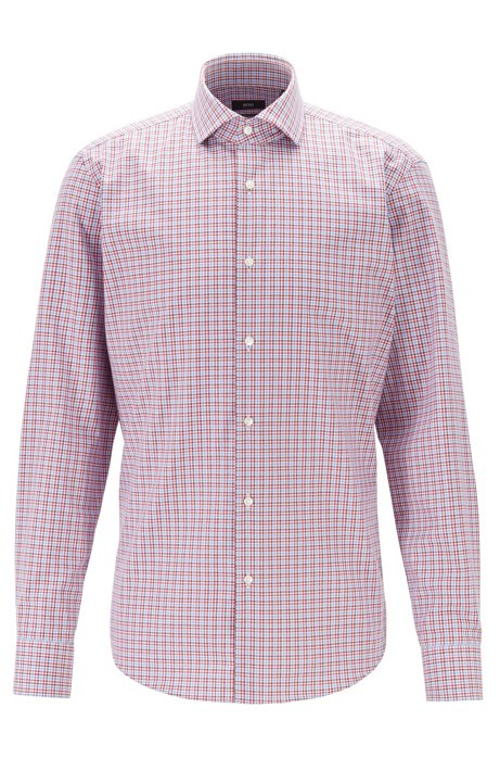 Regular-fit shirt with three-coloured Vichy check, Red