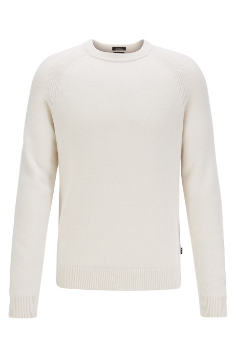 Regular-fit sweater in cashmere with crew neckline, White