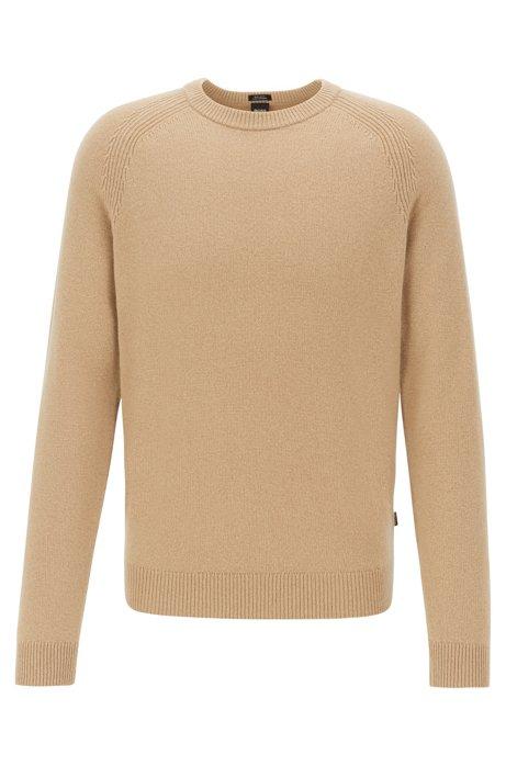 Regular-fit trui van kasjmier met ronde halslijn, Beige