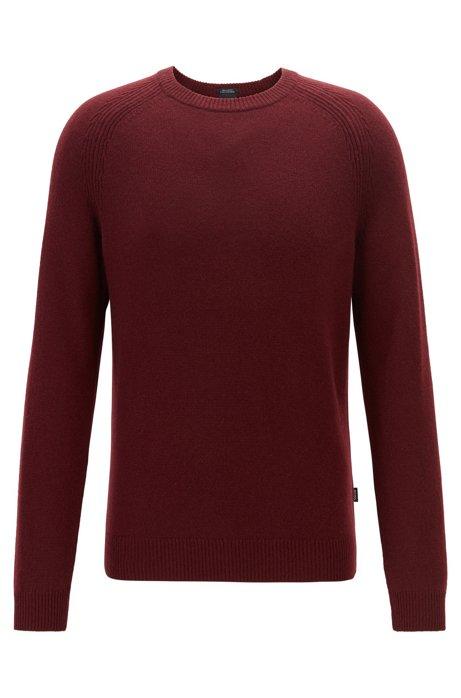 Jersey regular fit de cashmere con cuello redondo, Rojo oscuro
