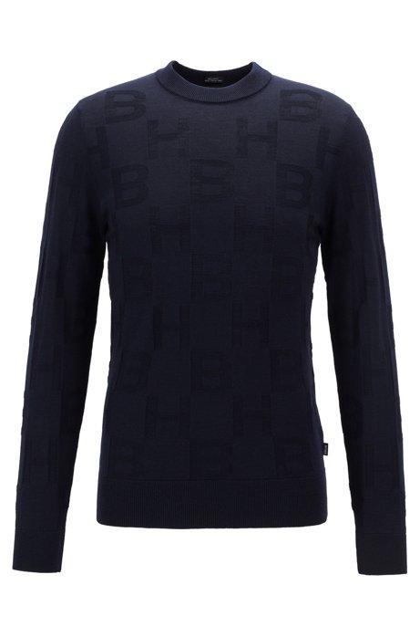 Regular-fit sweater in virgin wool with monogram pattern, Dark Blue