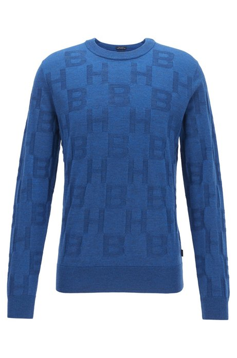 Regular-fit sweater in virgin wool with monogram pattern, Dark Blue