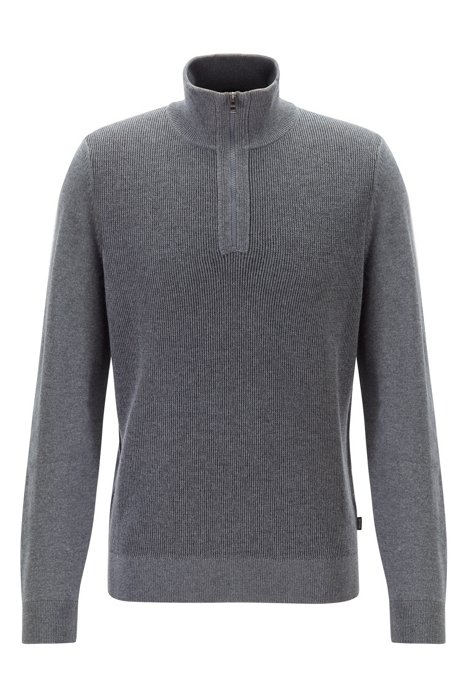 Regular-fit sweater in virgin wool with zip neck, Grey