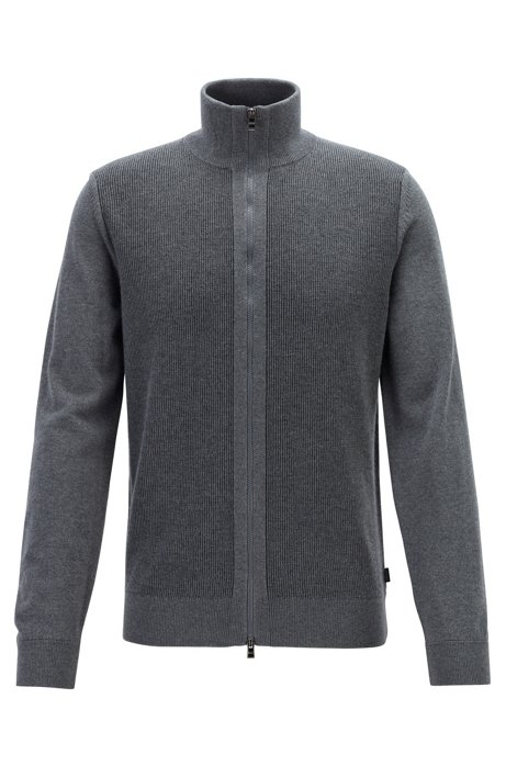 Regular-fit virgin-wool cardigan with structured panel, Grey