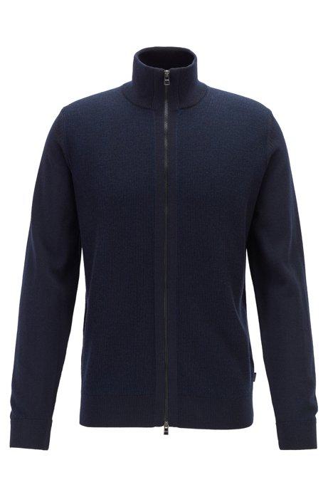 Regular-fit virgin-wool cardigan with structured panel, Dark Blue
