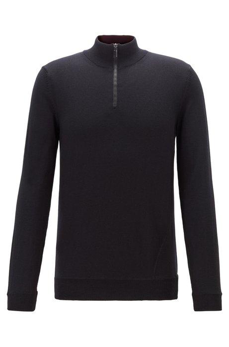 Pullover aus Schurwolle mit Troyerkragen und Kontrast-Details, Schwarz