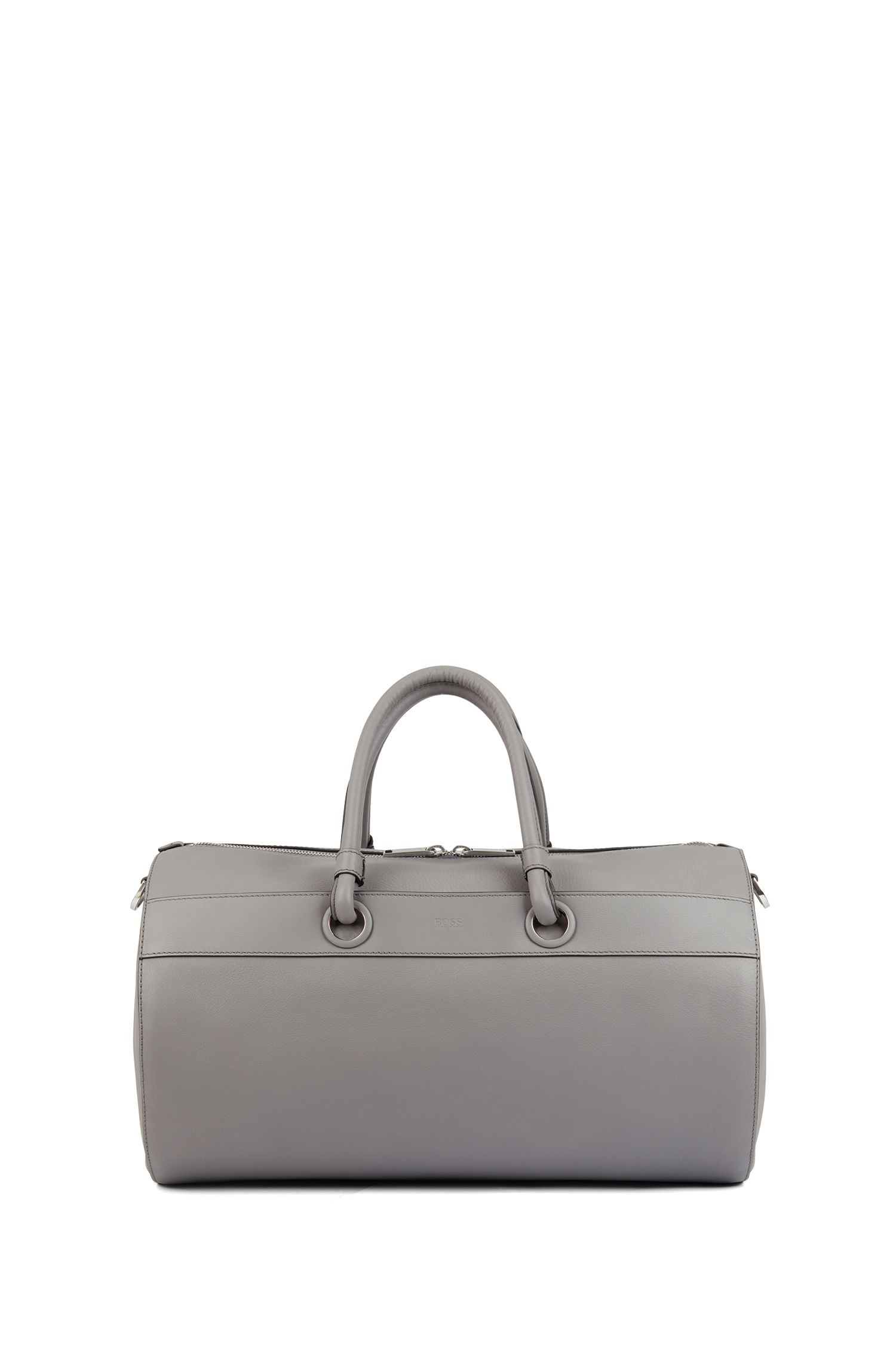 Tubular holdall in calf leather with detachable shoulder strap, Grigio